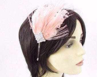 Rose Gold Light Pink Headband Headpiece Fascinator Dress 1920s Flapper Vtg 4718