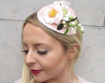 Blush Pink Peach Cream Berry Flower Fascinator Teardrop Races Hair Headband  2647 9d642cdc788e