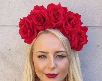 Large Red Rose Flower Sugar Skull Headband Big Hair Crown Day of the Dead 4001