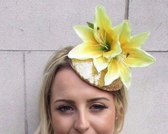Large Gold Yellow Lily Fascinator Headpiece Sequin Races Wedding Hat Hair 3654