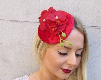 Red Orchid Flower Fascinator Hat Headband Races Wedding Vintage Headpiece 3252