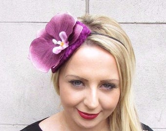 Plum Berry Purple Orchid Flower Fascinator Teardrop Races Wedding Headband  3705 9dd2129d00a
