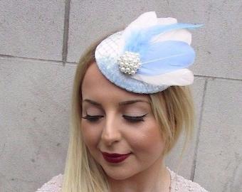 Duck Egg Light Blue Cream Velvet Feather Pillbox Hat Fascinator Hair Clip 2604