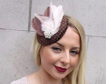Chocolate Brown Cream Velvet Feather Pillbox Hat Fascinator Hair Clip Vtg 2603