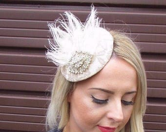 Red Rose Gold Sinamay Feather Pillbox Hat Fascinator Hair Clip Races Vtg 6594