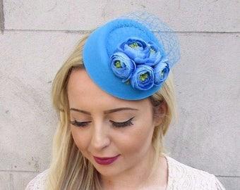 644a2ac6997 Sky Light Blue Rose Net Flower Pillbox Hat Fascinator Races Hair Clip Hair  3747