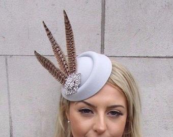 Sale! Cream Brown Pheasant Feather Pillbox Hat Fascinator Races Hair Clip Ascot DS4