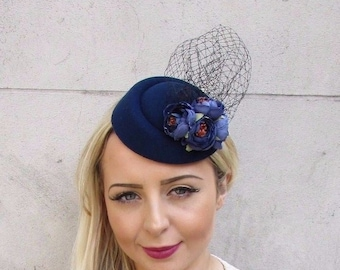 e39ab30a12334 Navy Blue Black Rose Net Flower Pillbox Hat Fascinator Races Hair Clip Hair  3745