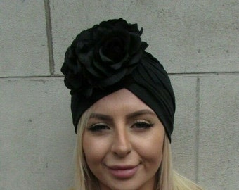 Black Rose Flower Turban Headpiece Floral Hat Stretch Hair Cover 1940s Vtg Vintage Style Pin Up Rockabilly Swing 1950s Hair Cover 0120