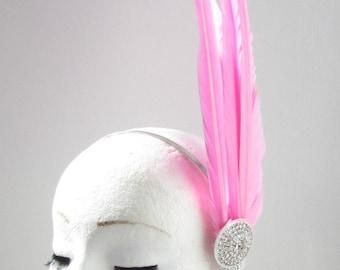 Pink & Silver Tall Feather Headpiece Fascinator Headband Vintage Races 1940s Y35