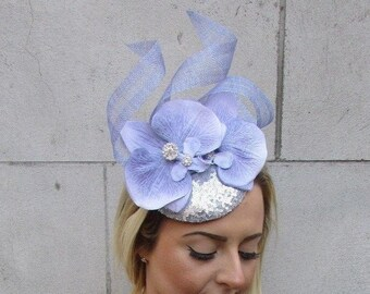 e31a3e8ff0f Lilac Grey Silver Orchid Flower Fascinator Sequin Races Pillbox Hat Ascot  5018