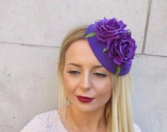 Purple Rose Hydrangea Flower Pillbox Hat Fascinator Races Rockabilly 1950s 2191