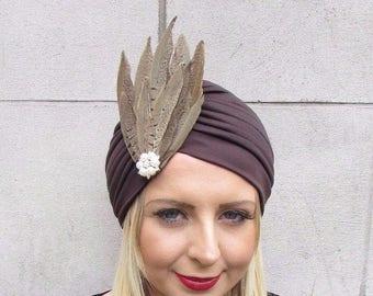 Brown Cream Pheasant Feather Turban Headpiece Fascinator 1940s Hair Hat 3627