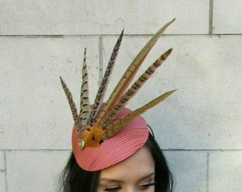 Brown Gold and Rust feather fascinator