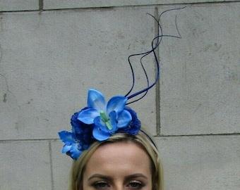 SALE Hot Pink Electric Blue Orchid Flower Saucer Disc Hat Fascinator Headband DS1