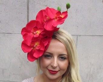 Red White Velvet Orchid Flower Fascinator Hat Races Headpiece Hair Clip Vtg 2662