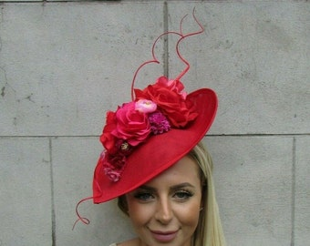 Large Red Fascinator with Stunning Iridescent Feathers!