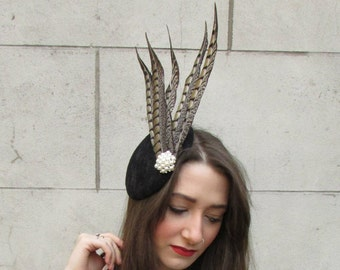 Black Brown Pheasant Feather Fascinator Hair Clip Vintage 1940s 1930s Races A60