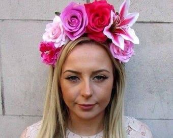 Hot Light Pink Lily Rose Flower Fascinator Headband Races Headpiece Crown  5172 f443f1c7887