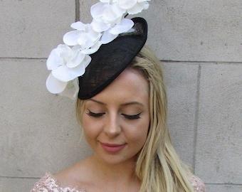f473bac7250dd Black Ivory Cream Orchid Flower Saucer Disc Hat Fascinator Headband Races  6030