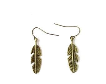 Bronze Tone Drop Leaf Feather Earrings Grecian Festival Boho Hook Dangle 5420