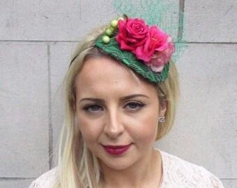 Green Hot Pink Rose Berry Flower Fascinator Net Hair Headband Wedding Races  3700 b030f93afda7