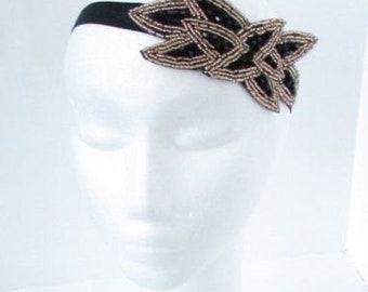 Navy Blue Gold Beaded Leaf Elastic Headband 1920s Great Gatsby Flapper Vtg 6791