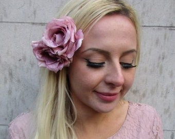 Dark Grey Charcoal Light Blush Nude Pink Rose Flower Feather Hat Fascinator 6070