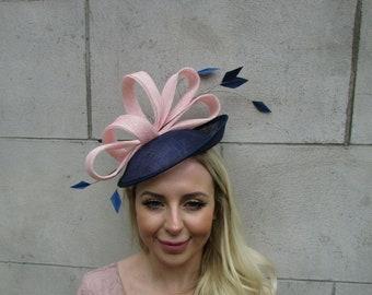 Sale Nude /& Blush Light Pink Flower Feather Hat Fascinator Races Wedding Hair 9023C297