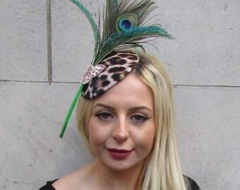 e136e800364c3 Black Gold Feather Leopard Animal Print Hat Fascinator Races Wedding Hair  6596