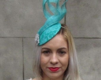 Turquoise Jade Green Statement Silver Fascinator Hat Races Wedding Hair 6565 28169cc088e