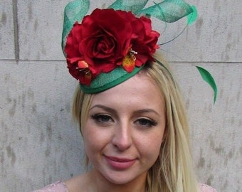 Large Double Peach Hot Pink Rose Flower Hair Clip Rockabilly 50s Fascinator 2898