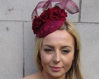 a24c75bf3b8aa Burgundy Wine Deep Red Rose Flower Pillbox Hat Hair Fascinator Races Ascot  5456
