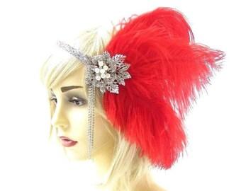 Burgundy Wine Red Dark Grey Feather Headpiece 1920s Headband Flapper Gatbsy 4617