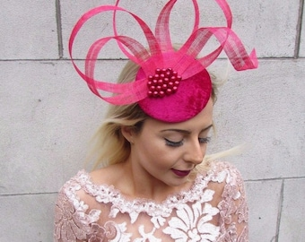 Cerise Hot Pink Fascinator Hat Hair Clip Pillbox Races Formal Cocktail 4607 5ee55cacc37