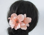 1940s Hair Accessories- Flowers, Snoods, Clips, Wigs, Bandannas Peach Velvet Orchid Flower Hair Comb Fascinator Wedding Vintage Style 1940s 1930s Bridal Bridesmaid Headpiece Floral Rockabilly 0304 $16.64 AT vintagedancer.com