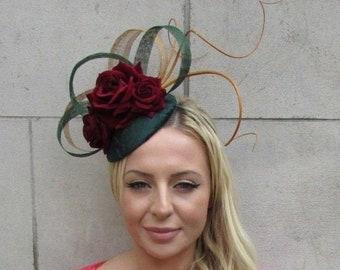 0f96c08cf083d Bottle Dark Green Burgundy Wine Red Gold Flower Feather Hat Hair Fascinator  6217