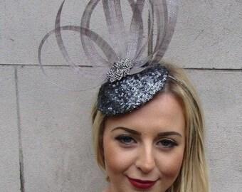 260174bd949 Charcoal Dark Grey Sinamay Sequin Pillbox Hat Fascinator Races Hair Clip  4959
