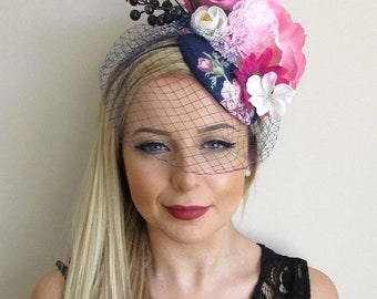 Navy Blue White Hot Pink Rose Birdcage Veil Flower Fascinator Hat Races 5687 375dd15c3b6