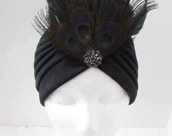 Silver Diamante Turban Headpiece 1920s Flapper Cloche Rhinestone Gatsby Vtg 6975