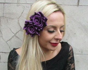 Dark Purple Rose Flower Hair Clip Rockabilly 1950s Festival Boho Vintage 1558