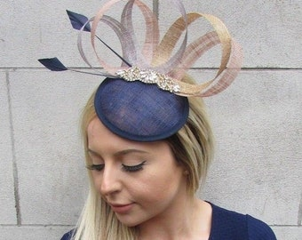 3a2669c5b7 Navy Blue Nude Gold Grey Sinamay Feather Pillbox Hat Fascinator Hair Clip  5508