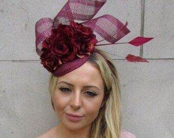 Burgundy Wine Maroon Red Rose Flower Feather Hat Fascinator Hair Races Vtg  6102 d28d8e6ddd6