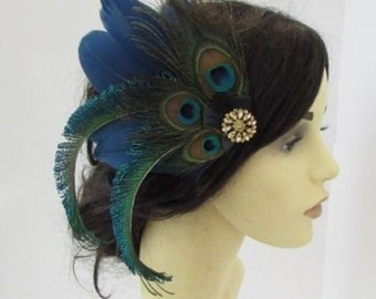 Black Brown Pheasant Feather Fascinator Hair Clip Vintage 1940s 1930s Races A60