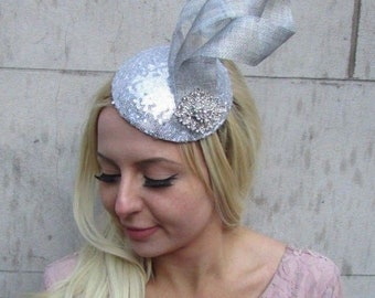 4573ae9678b Silver Sequin Statement Fascinator Pillbox Hat Races Diamante Hair Formal  6406
