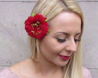 Red Peony Rose Flower Hair Clip Fascinator Bridesmaid 1950s Floral Vintage  4285 d5e12f1e3ebd