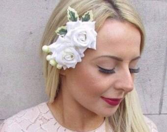 903c55b58b14f Double Ivory Cream Berry Holly Christmas Rose Flower Hair Clip Fascinator  4600