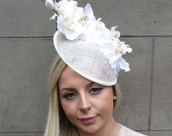 Cream White Orchid Flower Saucer Disc Hat Fascinator Races Wedding Ascot 5314