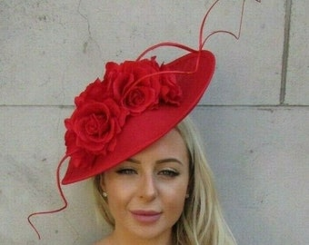 2fff9679fc2be Large Red Rose Flower Feather Teardrop Fascinator Hat Headband Races Hair  7194