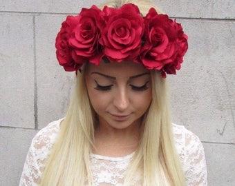 Large Orange Rose Flower Headband Garland Vtg Hair Crown Festival Boho Big P66